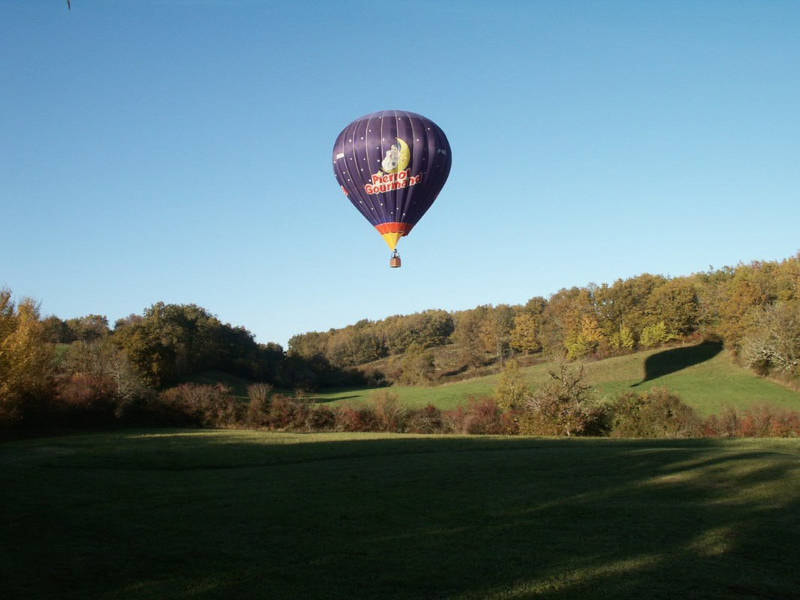 Hot air balloon over the countryside
